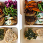 Lunch Box for Altes Museum 2019● onigiri with salmon/chilli carrot leaf sesame, mangold omlett, grükern burger, sesame beans, roasted sweet potato with sweet black sesame, coconuts red cabbage