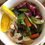 Lunch box FOR MAME KUROGOUCHI Paris Fashion Week 2019 ●spicy tomato rice with herbed roasted veggies, spicy tahini yogurt,  roasted nuts, celery-broccori-dill salad