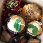 Lunch box for TOGA Archives 2019 London Fashion week ● nori rice, garlic aubergine, mushroom gratin, pumpkin tahini sauce, beetroots salad
